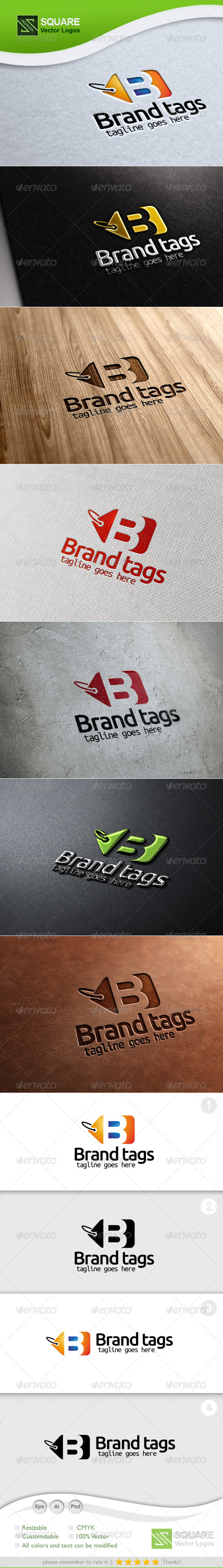 B, Tag Vector Logo Template - Letters Logo Templates