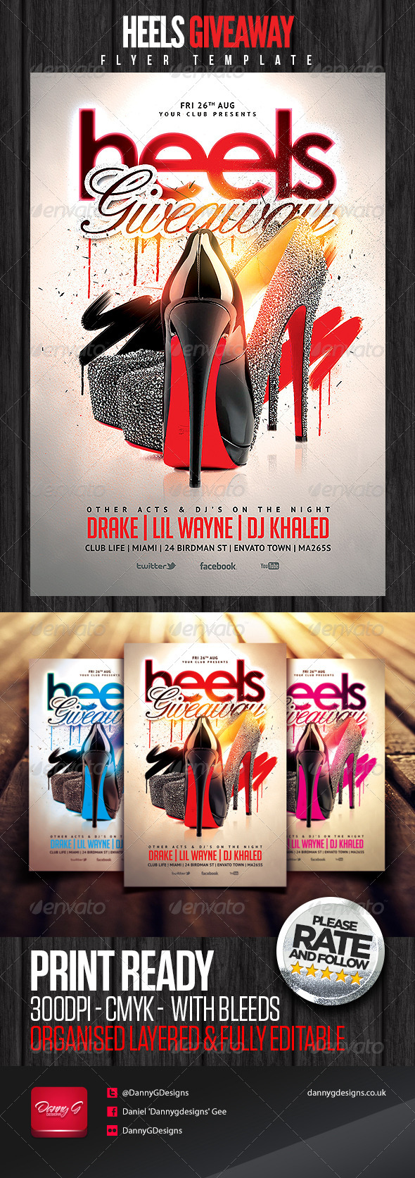 heels giveaway flyer template by dannygdesigns graphicriver