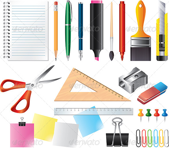 Drawing and office tools vector set by andegro4ka for Office design tool