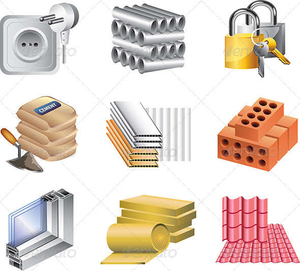 Building Materials Product : Building materials icons vector set by andegro ka