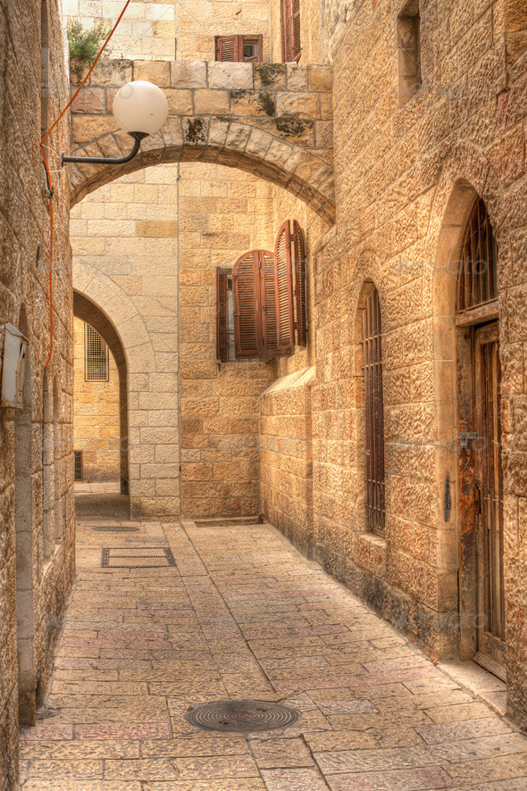 Old street in Jerusalem, Israel. - Stock Photo - Images