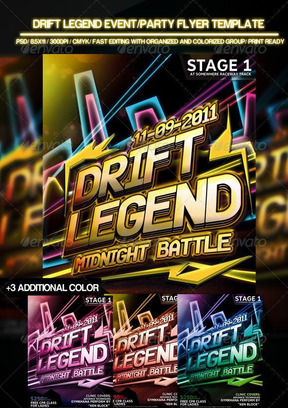 Drift Legend Event/Party Flyer Template - Clubs & Parties Events