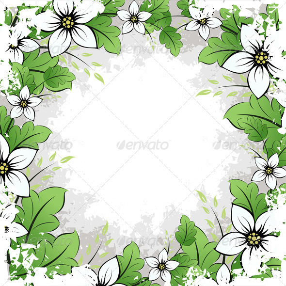 Grunge Flower Frame - Flowers & Plants Nature