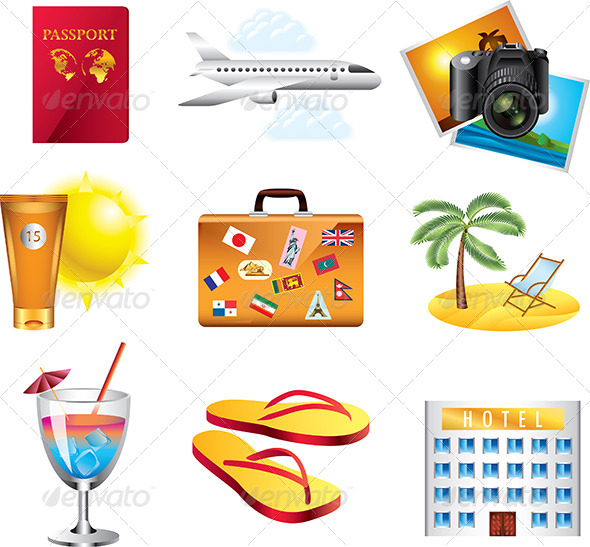 Vacation And Travel Icons Set By Andegroka GraphicRiver - Vacation tour and travel