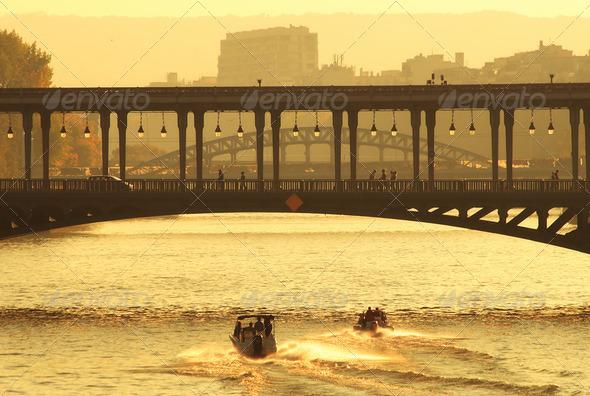 Bridge over Seine River in Paris. - Stock Photo - Images