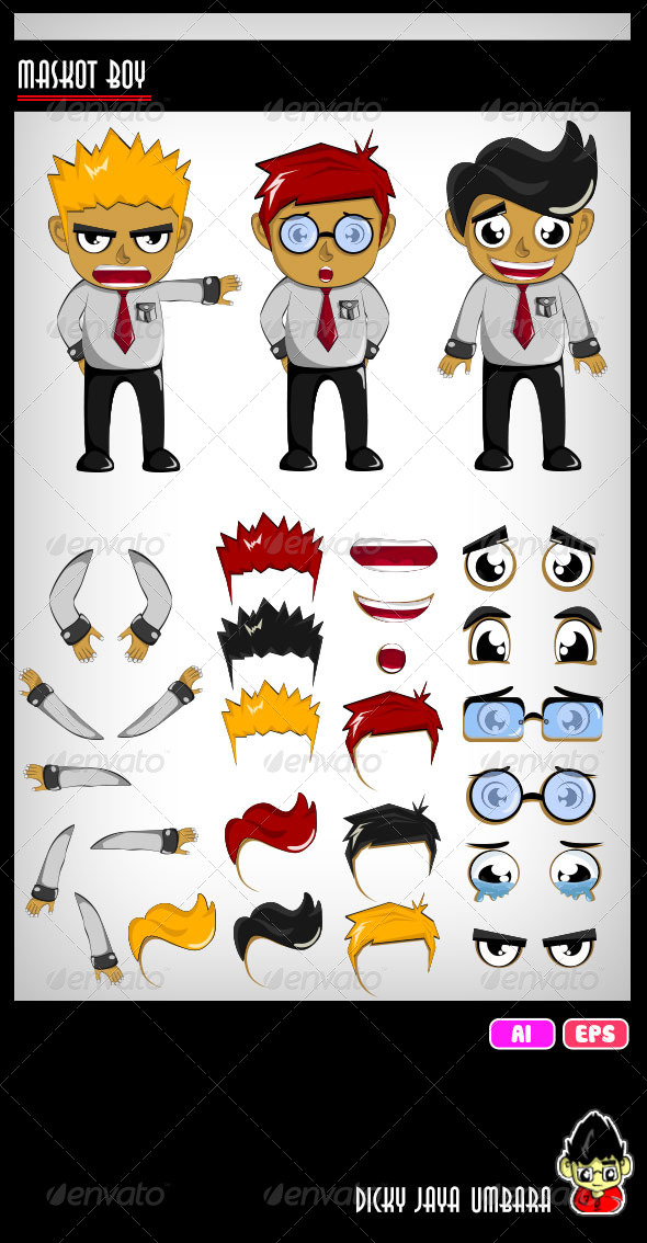 Mascot Boy - Characters Vectors