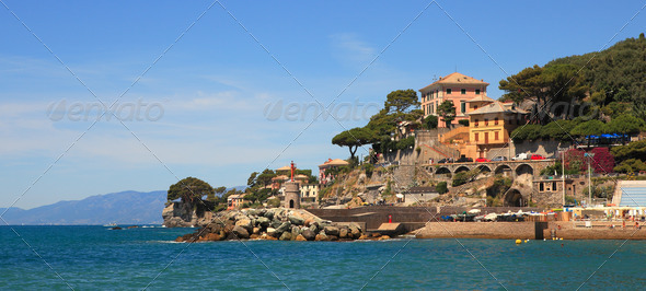 Panoramic view on Recco-popular touristic resort. - Stock Photo - Images