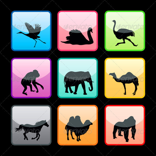 Wild animals buttons set - Animals Characters