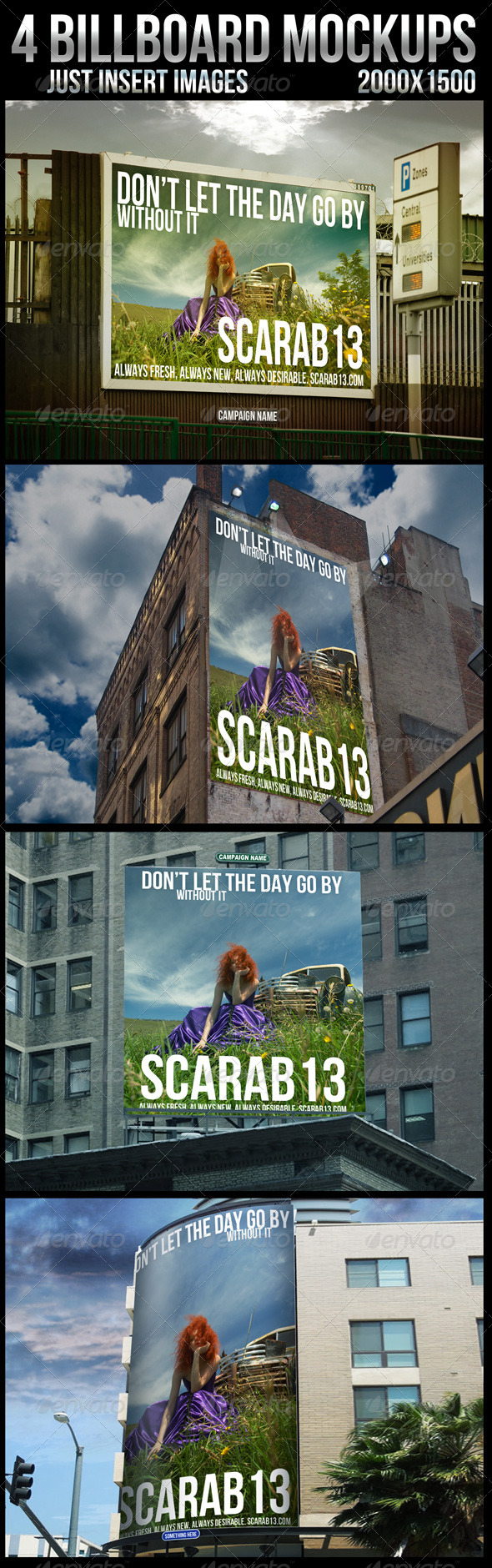 4 Billboard Mockups - Signage Print
