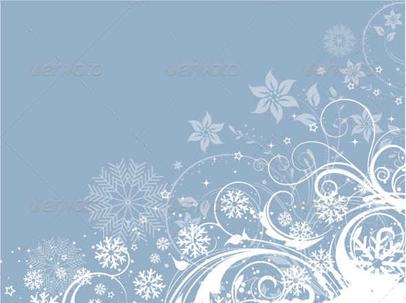 Decorative Winter Floral Background - Christmas Seasons/Holidays