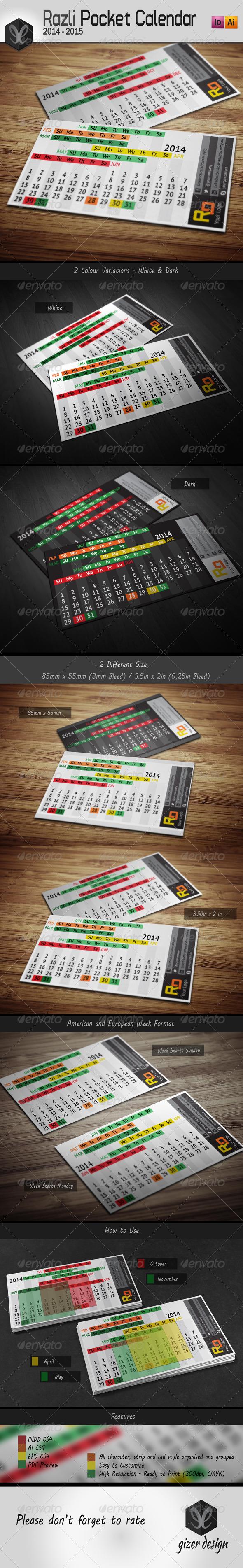 Pocket Calendar 2014 - 2015 / Razli - Calendars Stationery