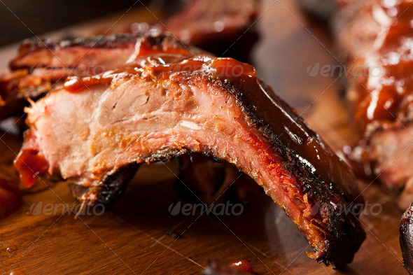 Smoked Barbecue Pork Spare Ribs - Stock Photo - Images