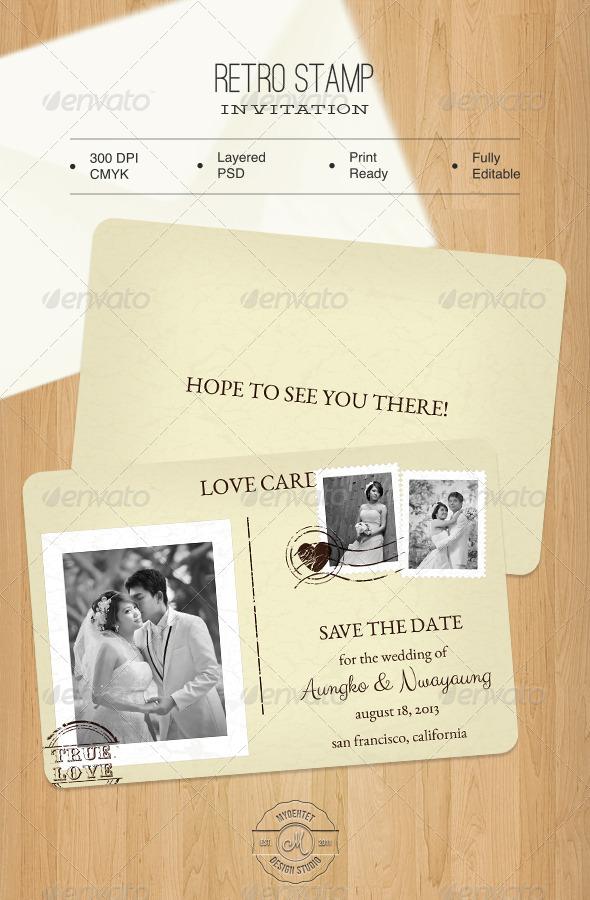 Retro Stamp Invitation - Weddings Cards & Invites