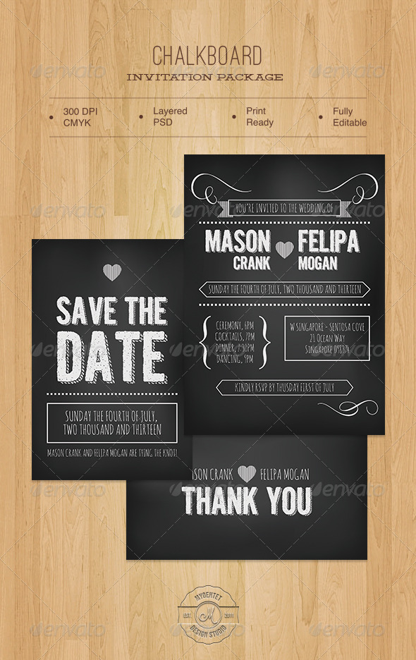 Chalkboard Invitation Package - Weddings Cards & Invites