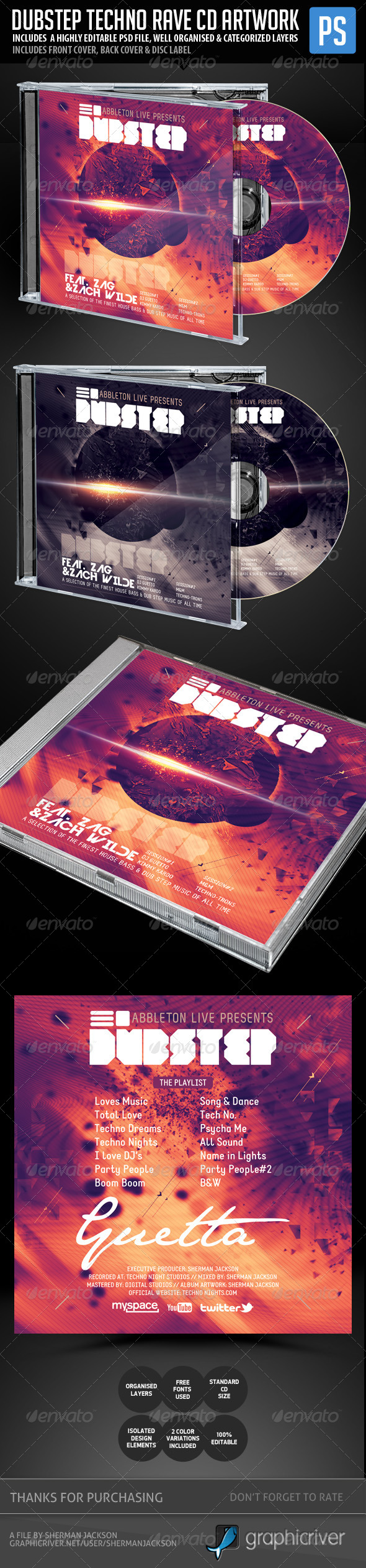Dubstep, Techno, Rave CD Template - CD & DVD Artwork Print Templates