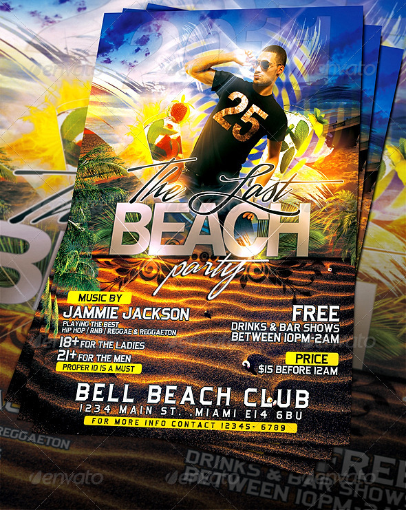 Last Beach Party Flyer Template By Mexelina | Graphicriver