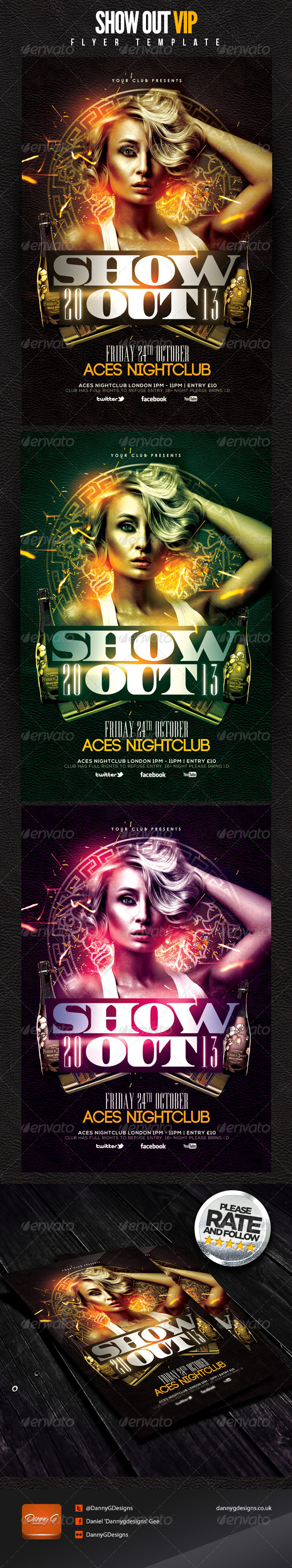 Show Out VIP Flyer Template - Clubs & Parties Events