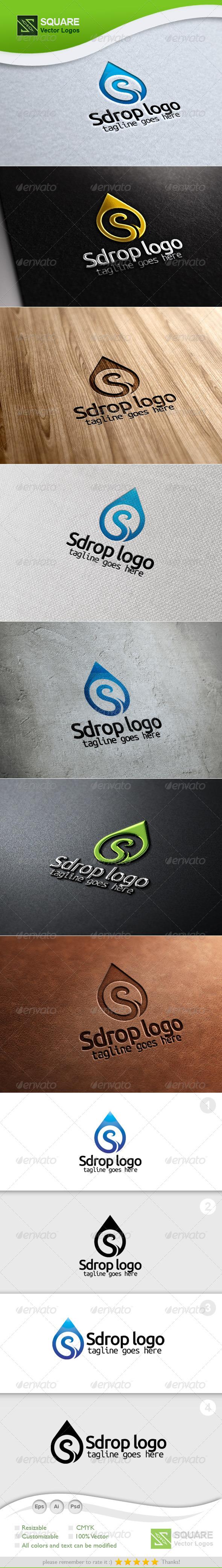 S Letter Drop Vector Logo Template - Letters Logo Templates