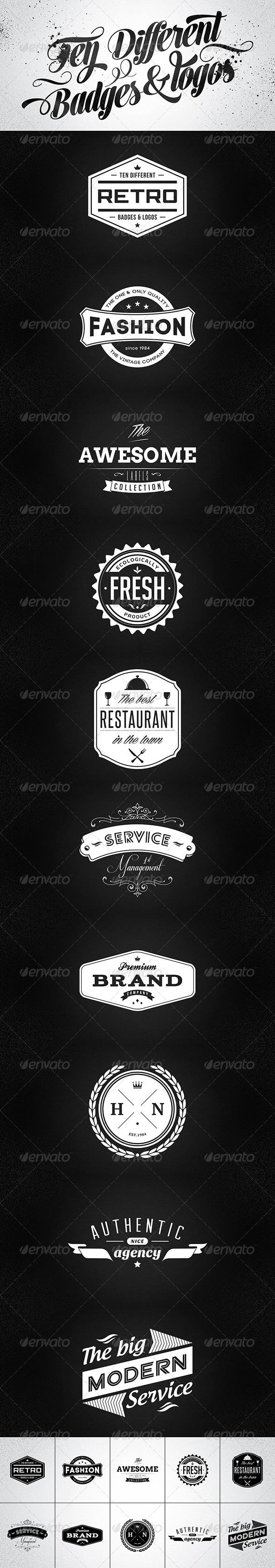 10 Retro Badges & Logos Vol.1 - Badges & Stickers Web Elements