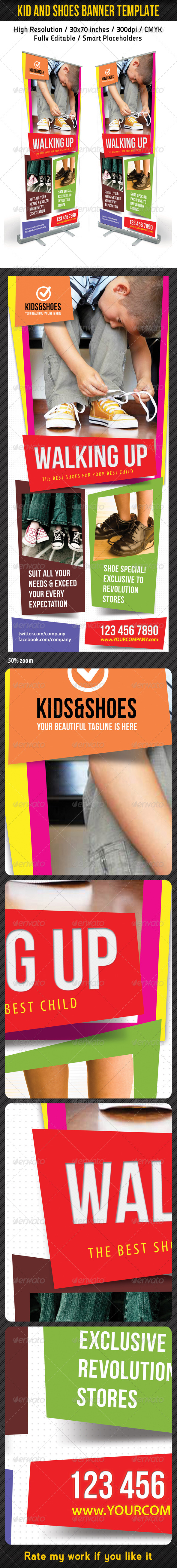 Kid And Shoes Banner Template - Signage Print Templates