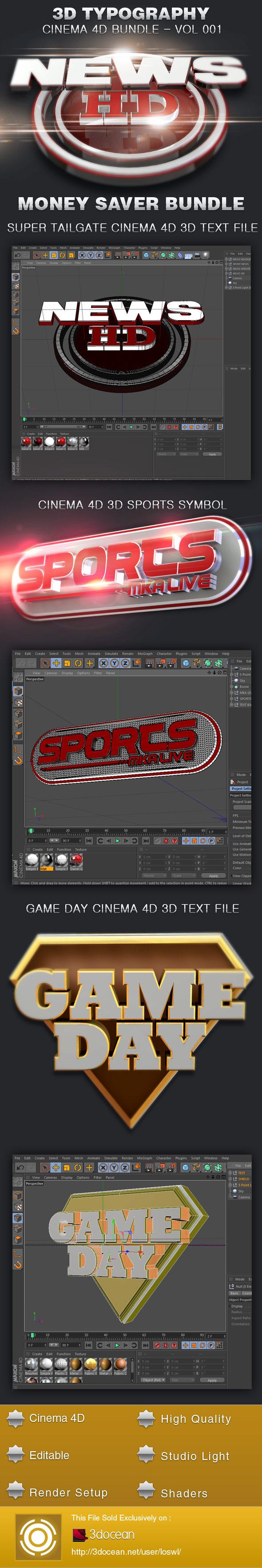 3D Typography Cinema 4D Bundle-Vol 002 - 3DOcean Item for Sale