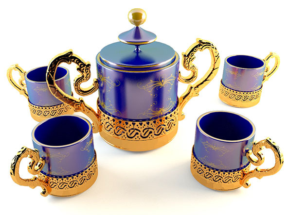Golden Tea Coffee Set - 3DOcean Item for Sale