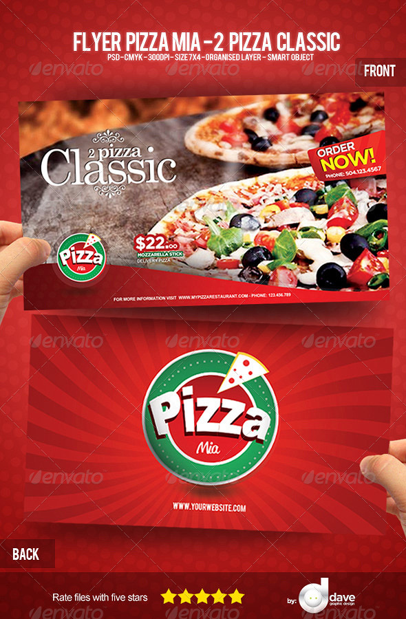 Flyer Pizza Mia - 2 Pizza Classic - Print Templates