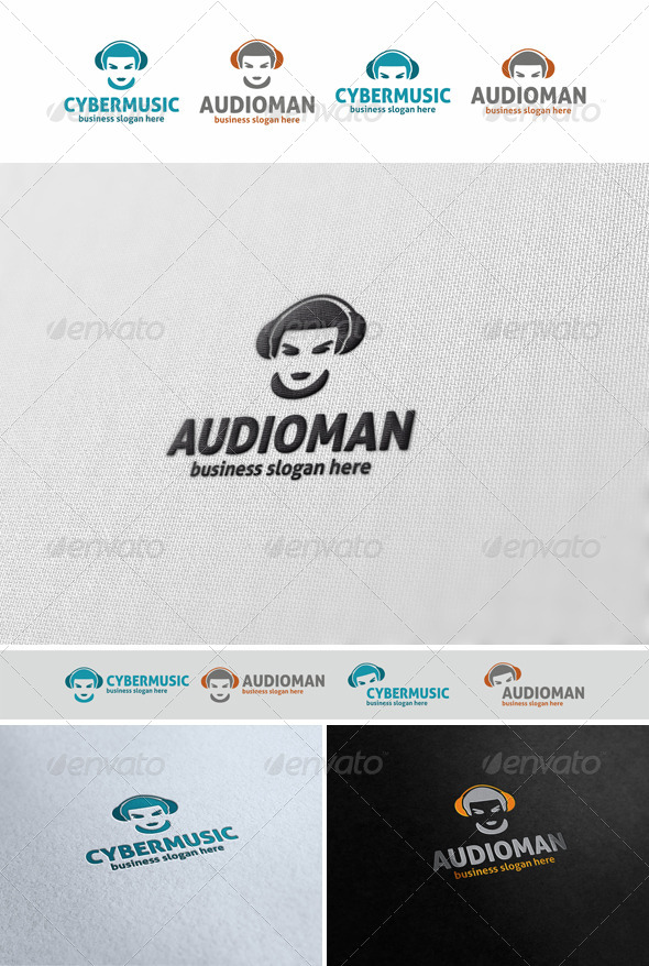 Audio Man Music Logo Avatar - Humans Logo Templates