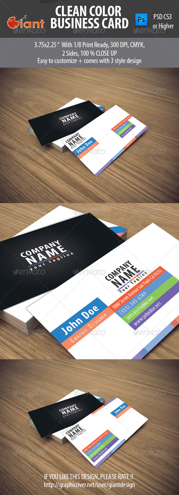Clean Color Business Card