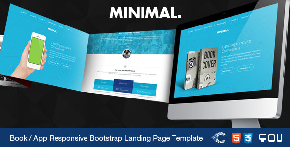 Minimal - Book / App Responsive Landing Page Templ - Marketing Corporate