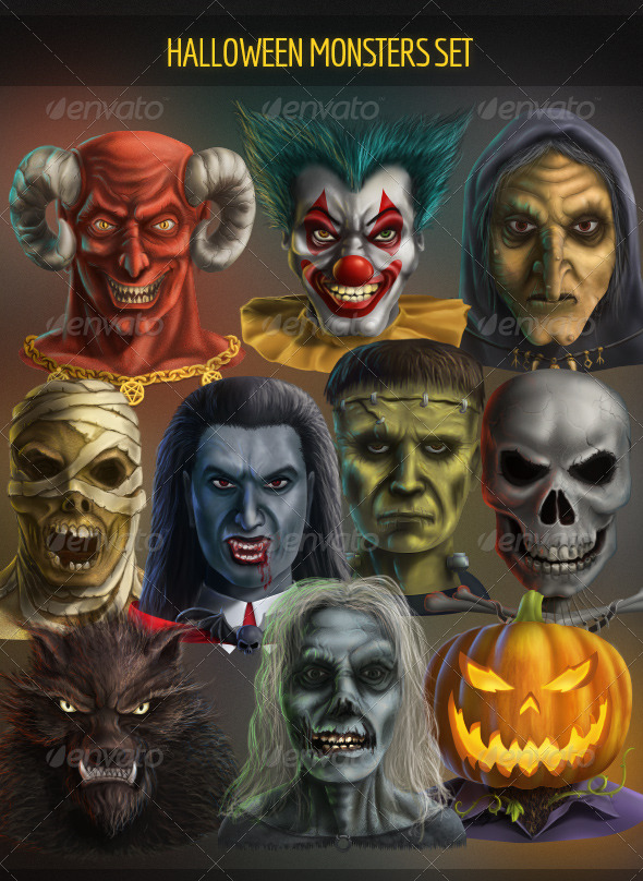 Halloween Monsters Set by DeadlyShadoff | GraphicRiver
