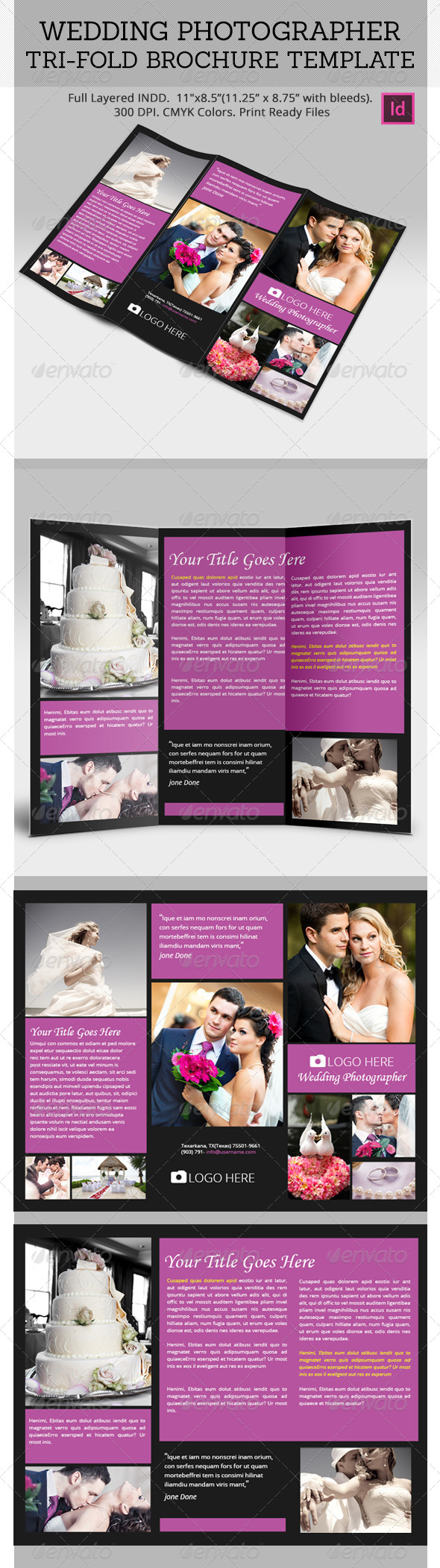 Weddign Photo Grapher Tri Fold Brochure Templates - Portfolio Brochures