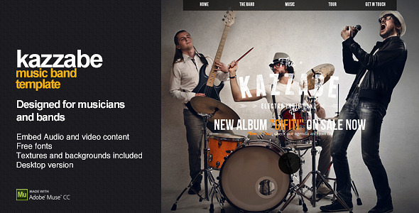 Kazzabe – One Page Music Band Template