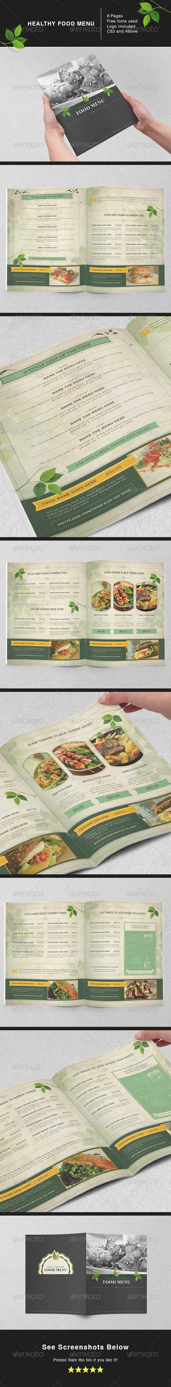 Healthy Food Menu - Food Menus Print Templates