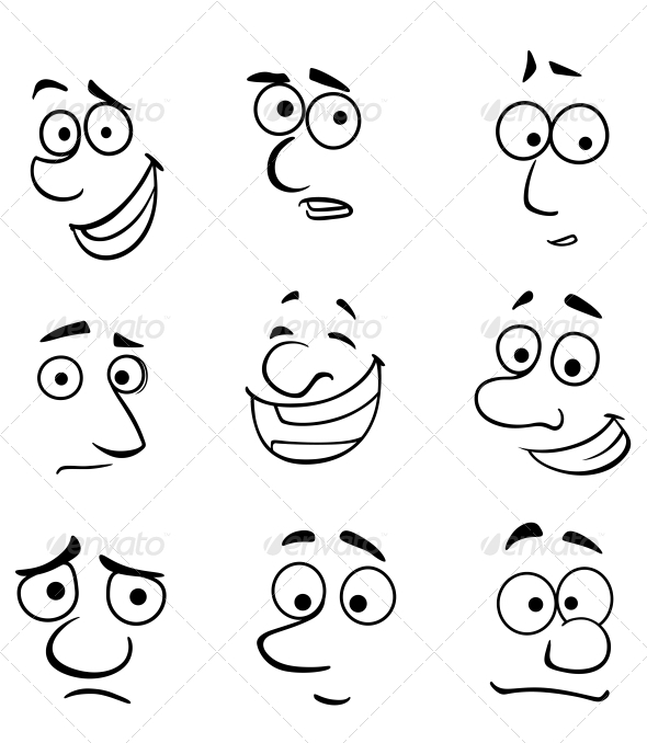 Cartoon Faces with Emotions by seamartini | GraphicRiver