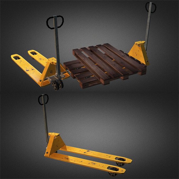 Pallet Truck And Pallet - 3DOcean Item for Sale