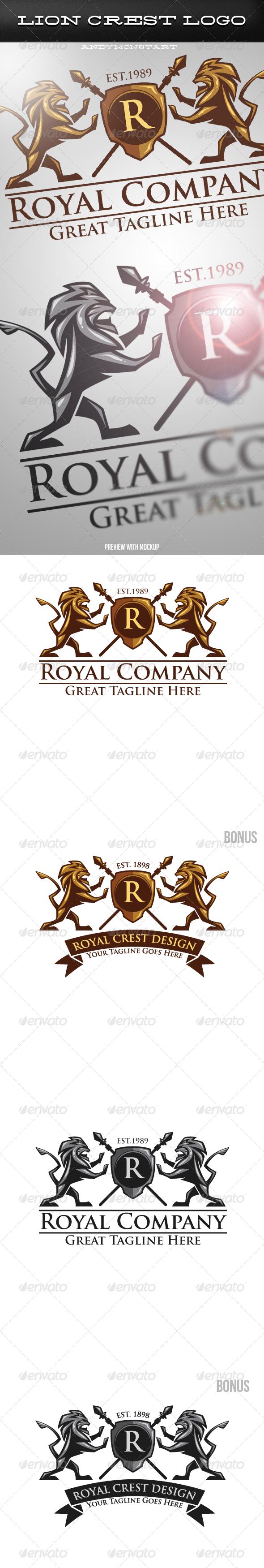 Luxury Medieval Heraldic Lion Crest Logo