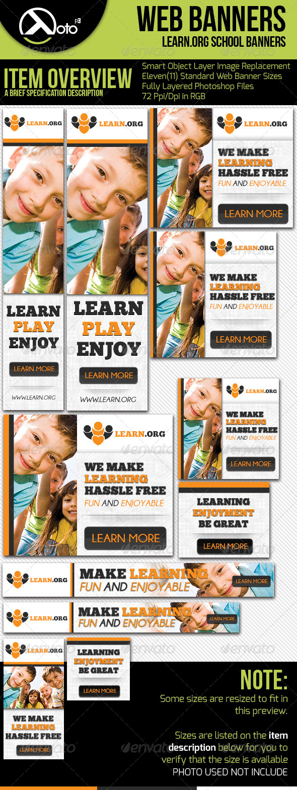 Child Learning Web Banners - Banners & Ads Web Elements