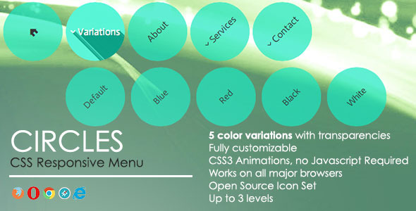 Circles Responsive Menu - CodeCanyon Item for Sale