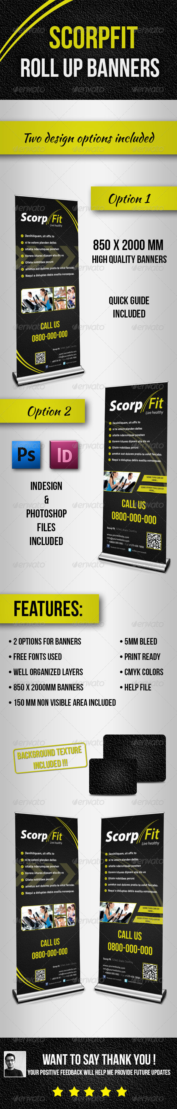 Scorpfit Rollup Banners - Signage Print Templates