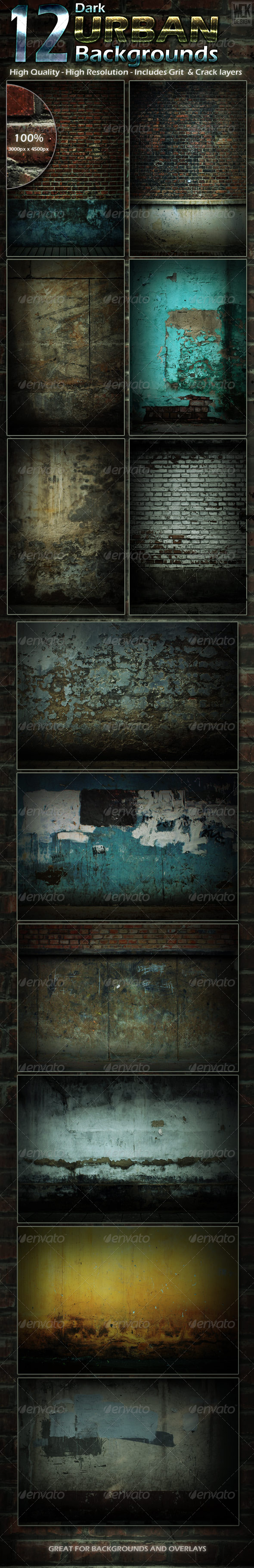 12 Dark Urban Backgrounds - Backgrounds Graphics
