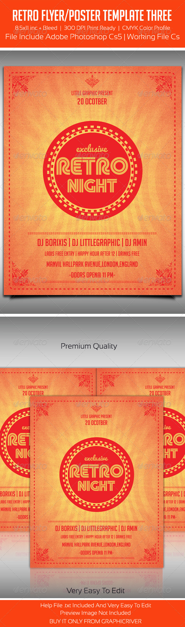 Typography Retro Party Flyer Template 3 - Clubs & Parties Events