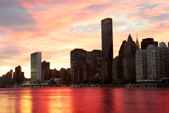 New York at sunset - Stock Photo - Images