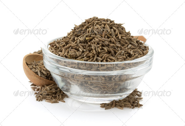 cumin seeds in bowl - Stock Photo - Images