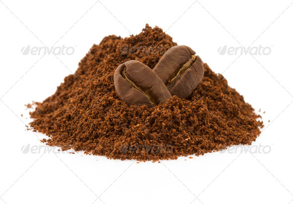 coffee beans on white background - Stock Photo - Images