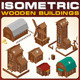 Isometric Wooden Cabins and House - GraphicRiver Item for Sale