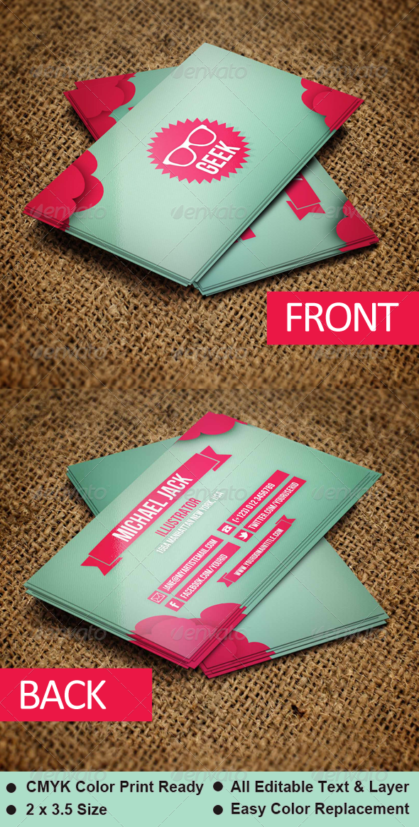 Geek - Business Card Template - Creative Business Cards