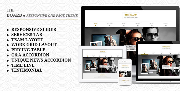 The Board – Responsive One Page Template