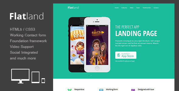 Flatland - Responsive HTML5 App landing page - Landing Pages Marketing