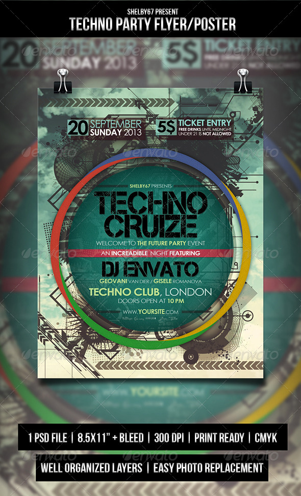 Techno Party Flyer / Poster - Events Flyers